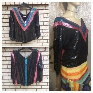 ❤️SOLD❤️Vintage 80's Sequined Beaded Party Top